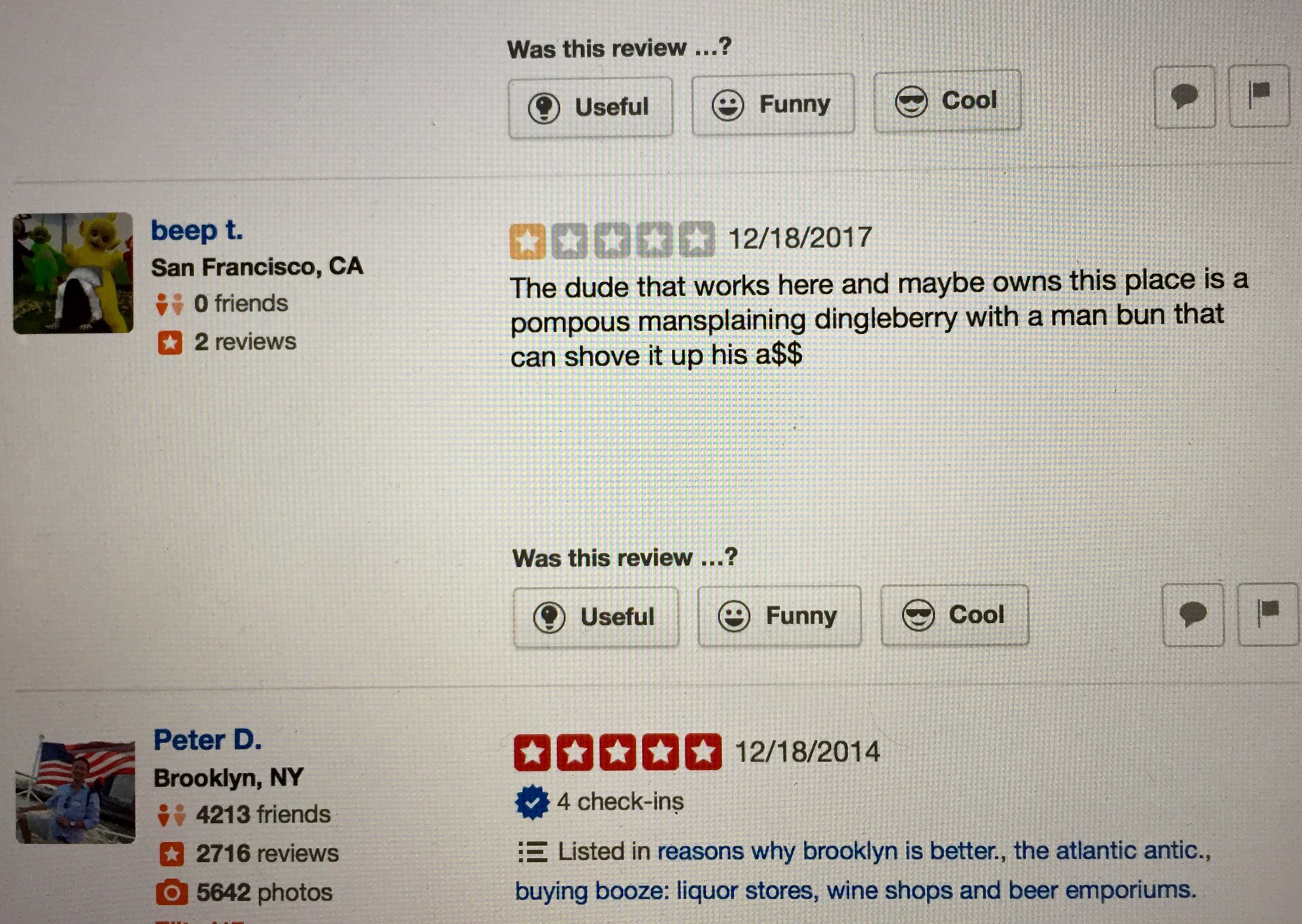 beep t Yelp review 12-16-2017